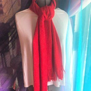 Accessories - Cozy Red Scarf with Silver Strands